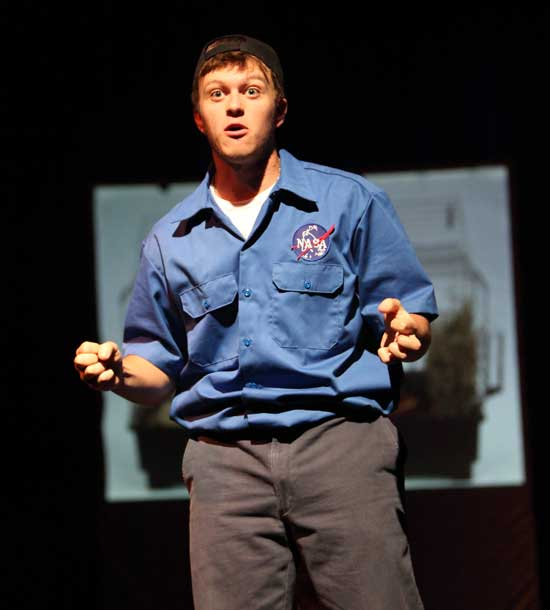 Junior Brett Keating plays a space shuttle mechanic in Defying Gravity, a role for which he won a state acting award.