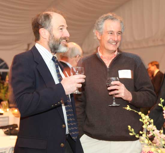 Jim Ware (left) and Harvard Schools Trust Board Member Nick Browse enjoy a glass of wine before dinner.