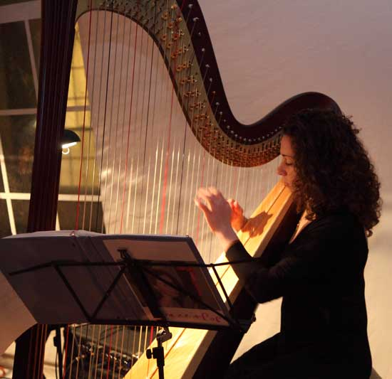 Musician Maria Parker, playing the harp, entertains dinner guests.